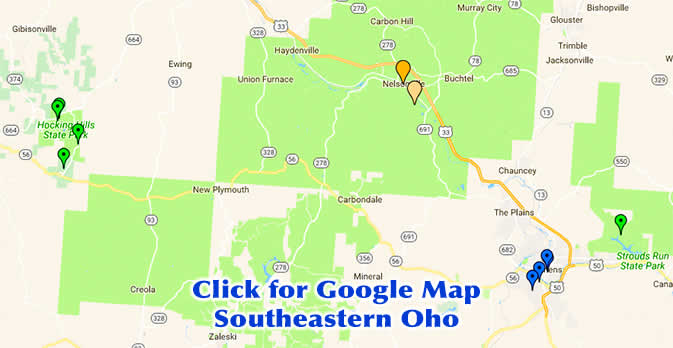 Google Map of Southeastern Ohio including Hocking Hills